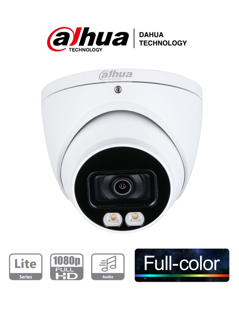 DAHUA HDW1239T-A-LED - Camara Domo HDCVI Full Color 1080p/ Microfono Integrado/ Metalica/ Leds 40 Mts/ Lente de 3.6mm/ IP67/ Starlight