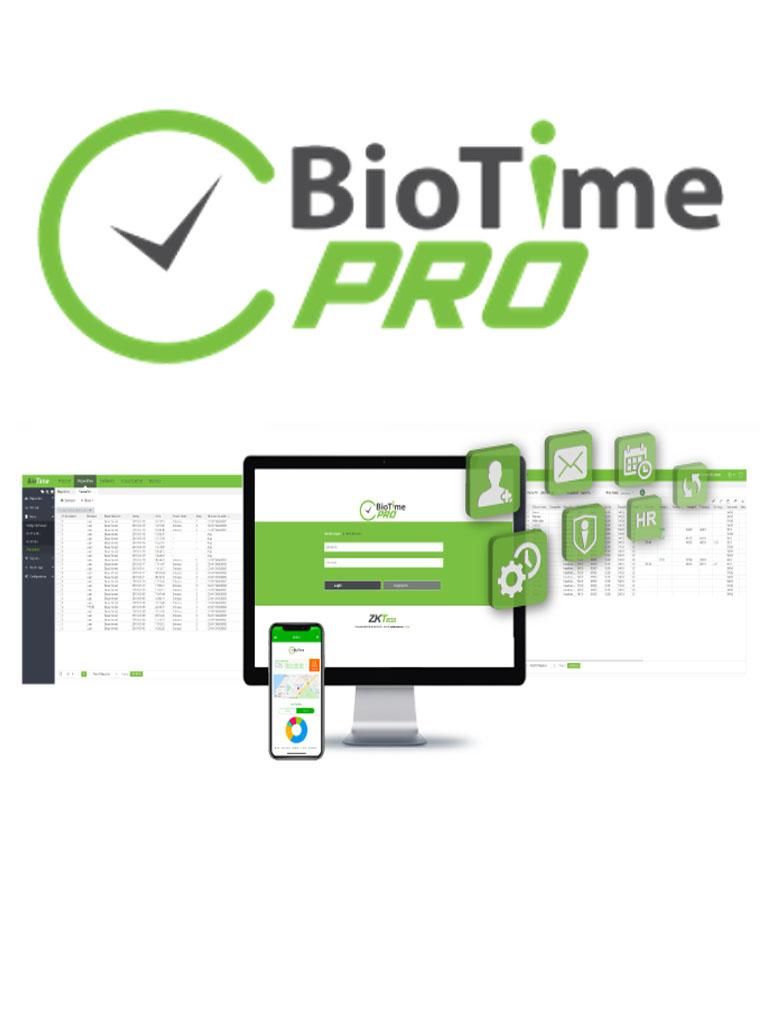 ZK BIOTIMEPROPREMIUM - Licencia de asistencia vitalicia / Version WEB / Para 50 terminales centralizadas / 6000 Empleados / 1 Punto para App / 5 Multicompañia