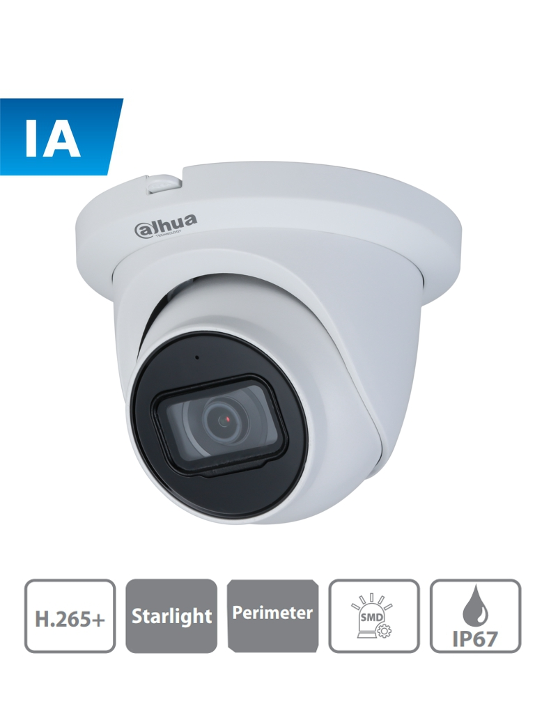 DAHUA IPC-HDW3441TMN-AS - Camara IP Domo con Inteligencia Artificial/ 4 Megapixeles/ Lente de 2.8mm/ Microfono Integrado/ WDR/ Ir 50 Mts/ SMD/ Proteccion Perimetral/ IP67/