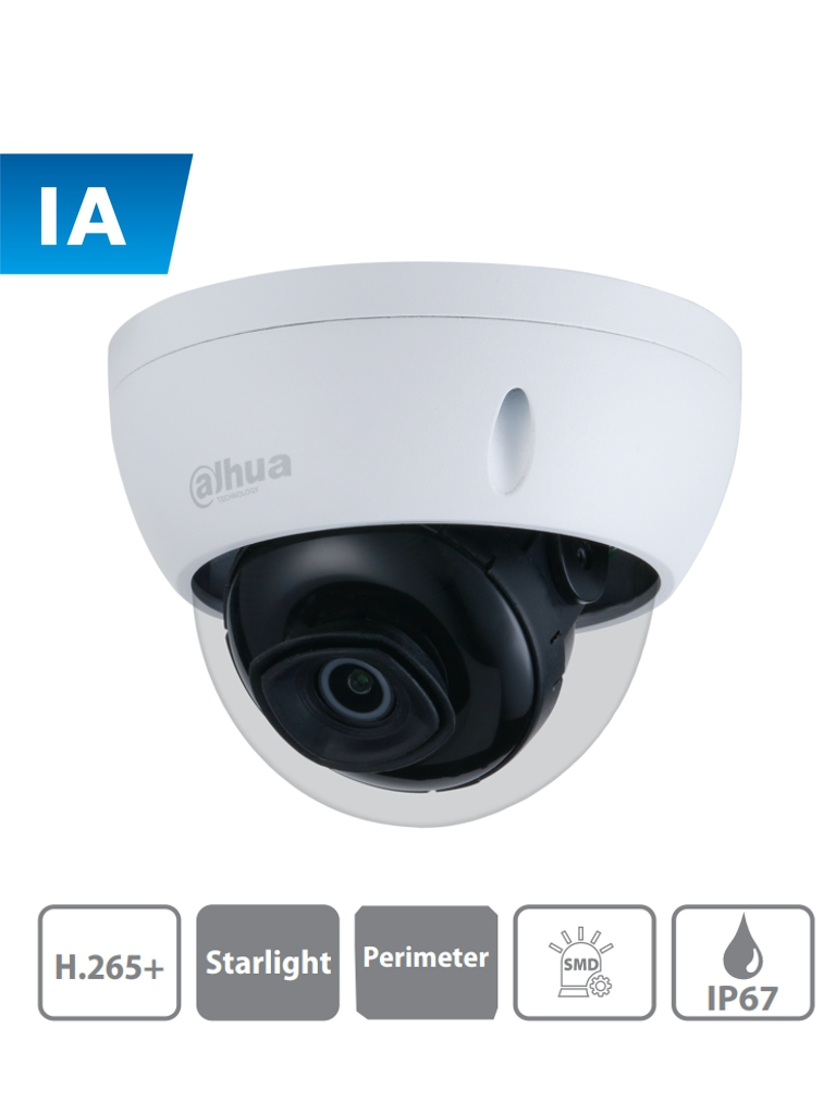DAHUA IPC-HDBW3441E-AS - Camara IP Domo con Inteligencia Artificial/ 4 Megapixeles/ Lente de 2.8mm/ 1 Ch de Audio/ WDR/ Ir 50 Mts/ SMD/ Proteccion Perimetral/ IP67/ IK10/