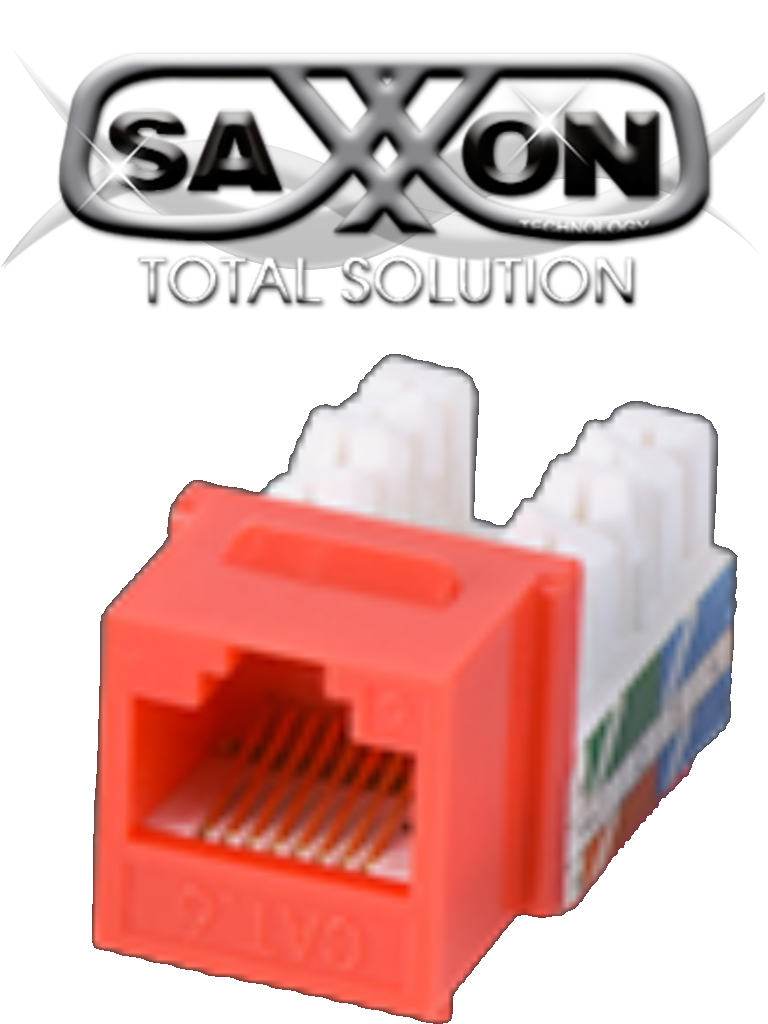SAXXON M2656AR - Modulo jack keystone RJ45 / 8 Hilos / CAT 6A / Compatible con calibres  AWG 22-26 / Color rojo