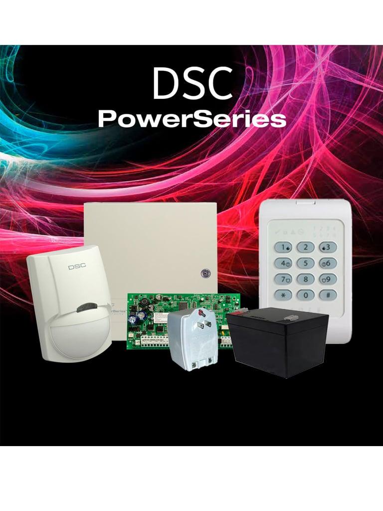 DSC POWER-LED- Paquete Power con / Panel PC1832PCBSPA 8 zonas cableadas/ Gabinete Metálico GTVCMX007/ Teclado de 8 Zonas LED PC1404/ Detector de Movimiento Cableado LC100PI / Fuente de Poder PTC1640U/ Batería 12V 5AH /