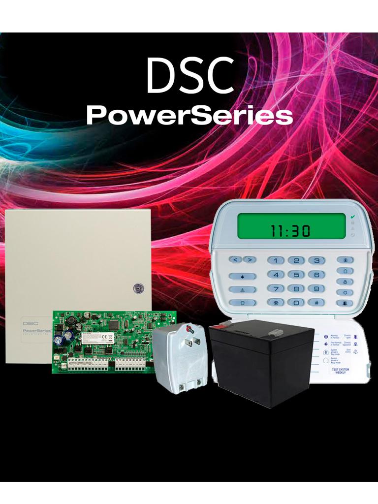 DSC POWER-RF - Paquete Power 32 Zonas Inalámbricas / Panel PC1832 / Teclado ICON RFK5501 / Gabinete GTVCMX003 / Transformador PTC1640U / Batería 12V 5AH /