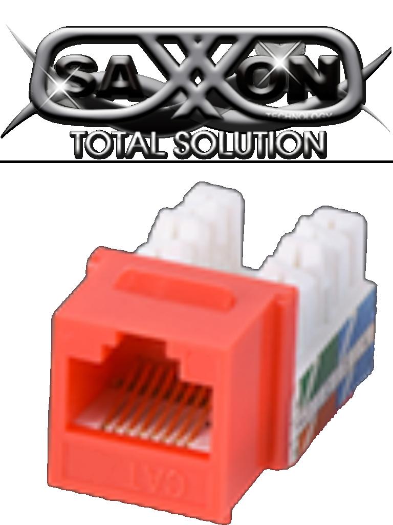 SAXXON M265C5R - Modulo jack keystone RJ45 / 8 Hilos / CAT 5E / Compatible con calibres  AWG 22-26 / Color rojo