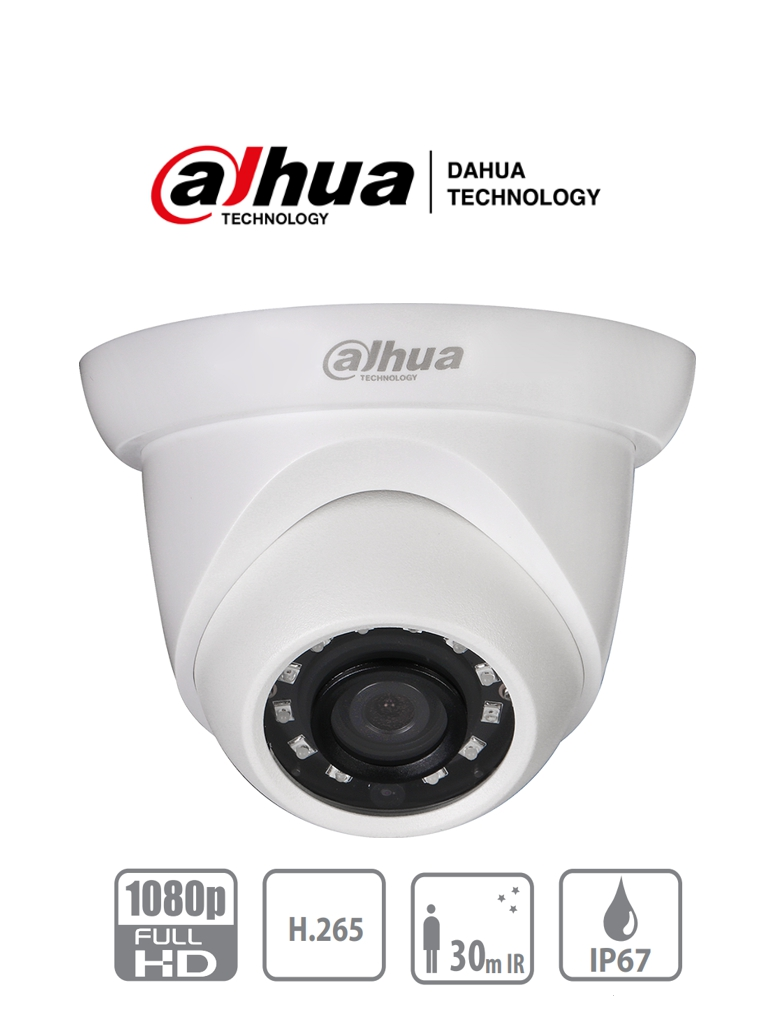 DAHUA IPC-HDW1230S-S4 - Camara IP Domo de 2 Megapixeles/ Lente de 2.8mm/ 30 Fps/ Angulo de 104 Grados/ H.265+/ IR de 30 Mts/ PoE/ IP67/ DWDR/ 3D-NR/ HCL/ BLC/