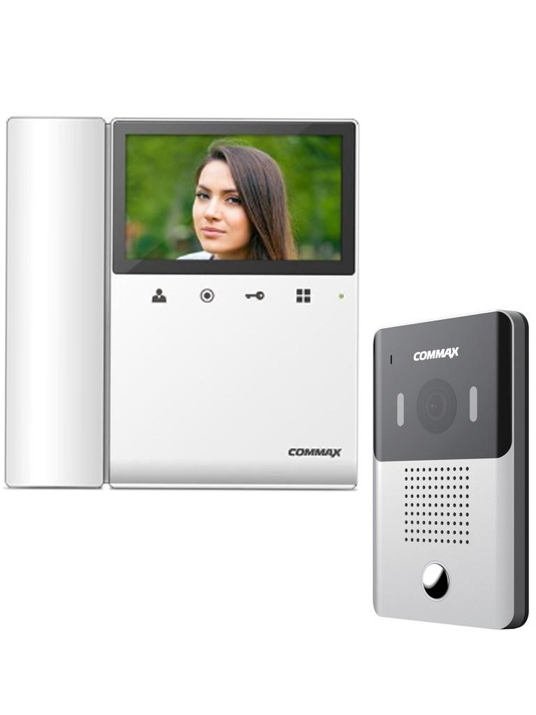 COMMAX CDV43K2DRC4Y - Kit de videportero incluye monitor a color 4.3 pulgadas y frente de calle con camara pinhole /Audio y video/ Funcion depertura de puerta/ No necesita configuracion