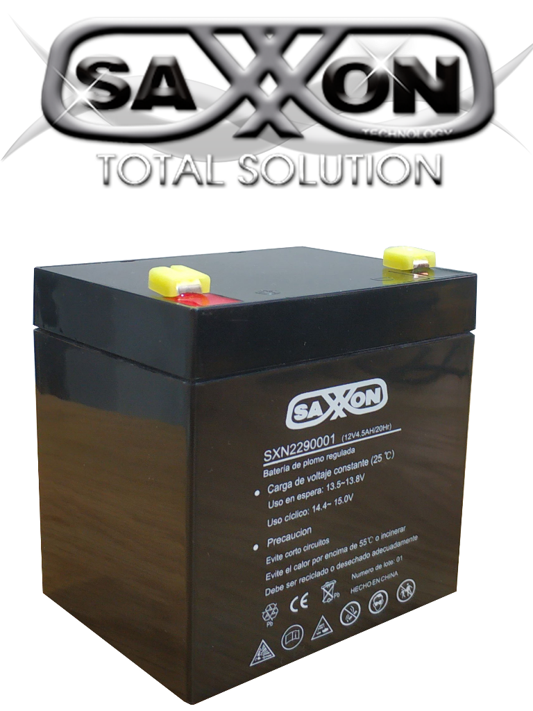 SAXXON CBAT45AH- Bateria de respaldo de 12 volts libre de mantenimiento y facil instalacion / 4.5 AH/ Compatible DSC/ CCTV/ Acceso
