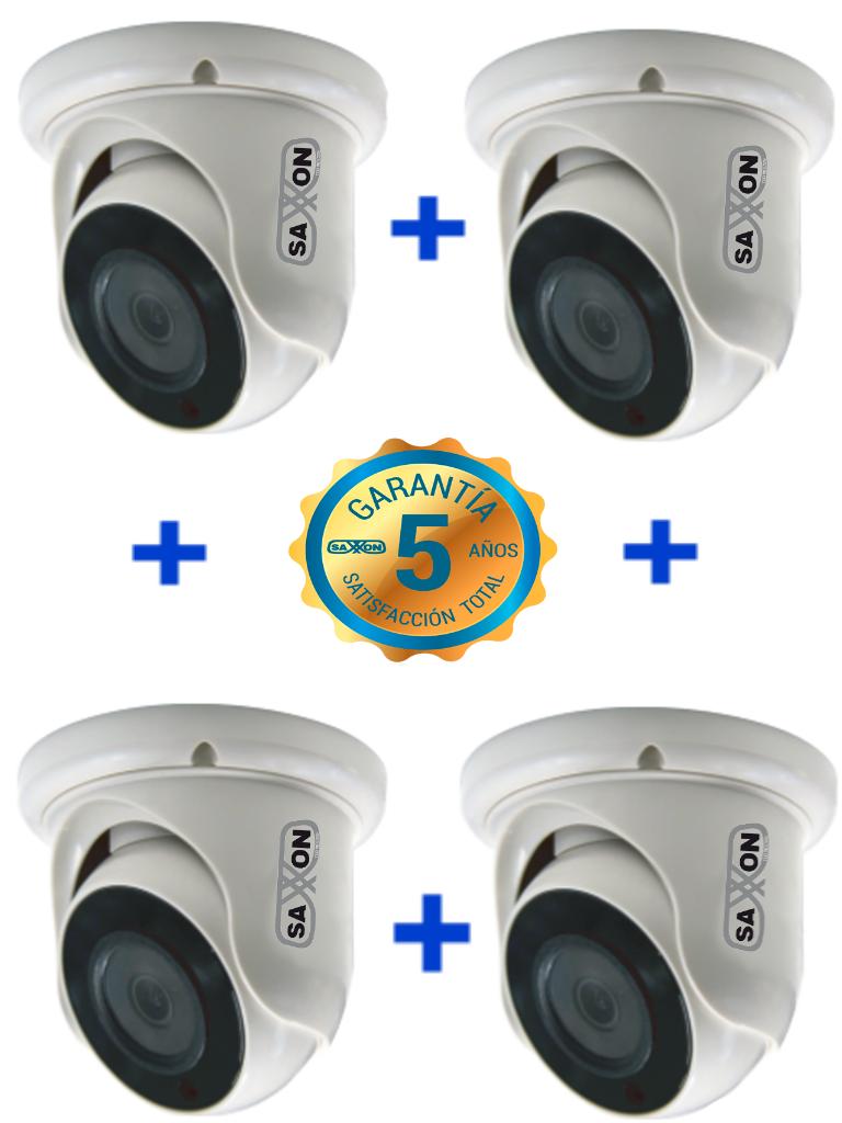 SAXXON TECH ES31A11JPAQ- 4 Camaras Domo HDCVI 720P/ AHD/ TVI/ Luz IR 20M/ Lente 2.8 mm/ Interior/ 60 Meses de garantia