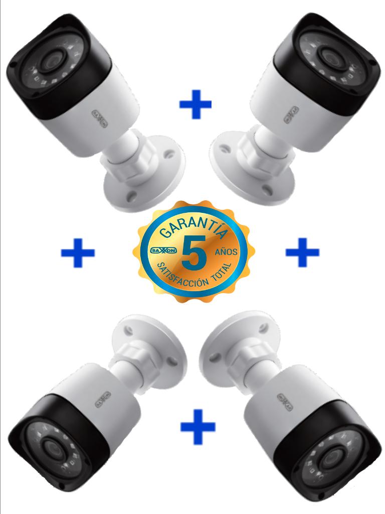 SAXXON TECH BS32B11APAQ- 4 Camaras bullet HDCVI 1080P/ AHD/ TVI/ CVBS/ Amplio Angulo de Vision 92 grados/ Luz IR 20M/ Exterior IP66/ 60 meses de garantia