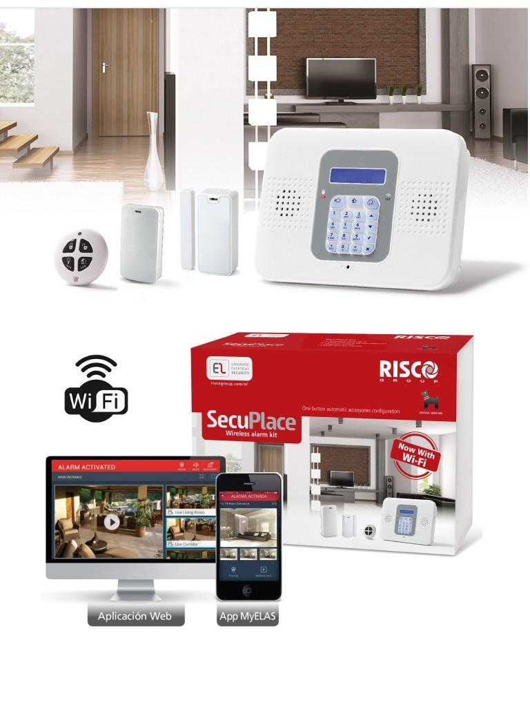 RISCO SECUPLACE WIFI - Kit de Alarma Inalámbrico todo inlcuído con WiFi, un Detector de Movimiento, un Contacto Magnético  y un control.