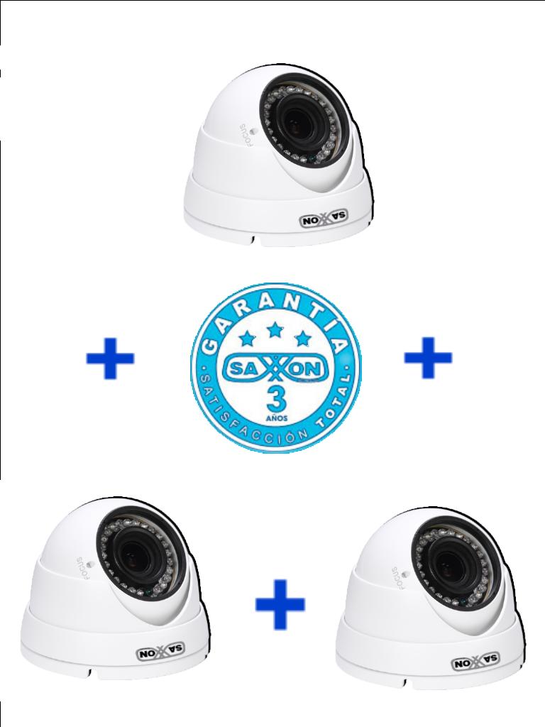 SAXXON PRO DVF2720TMPAQ3- 3 Camaras domo varifocales HDCVI 1080P/ AHD/ TVI/ CVBS/ Lente 2.7 mm-12 mm/ Luz IR 30M/ Exterior IP67/ Metalica/ 36 Meses de garantia