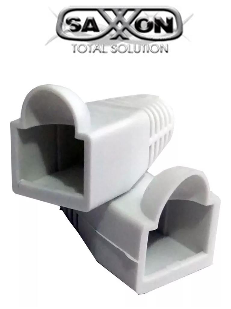 SAXXON S902A3 - Bota para conector plug RJ45 categoría 5e/ Color blanco/ Paquete de 100 piezas