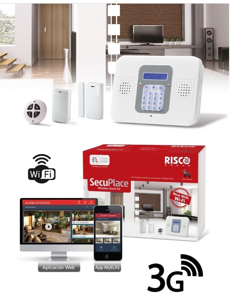 RISCO SECUPLACE 3G / WIFI - Kit de Alarma Inalámbrico todo inlcuído con WiFi y 3G, un Detector de Movimiento, un Contacto Magnético  y un control.