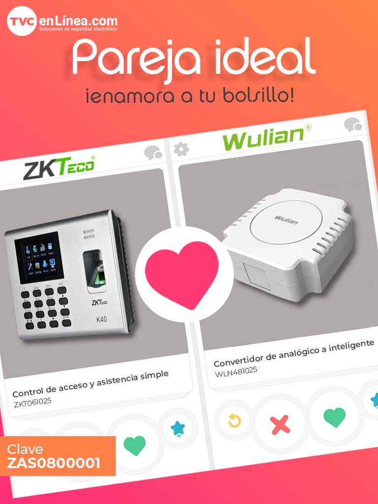 ZKTECO  Pareja Ideal  ZKTeco & Wulian - Esta pareja te ayuda a automatizar por medio de un control de acceso y asistencia de ZKTeco K40 y el  SMARTAUX con otros dispositivos de  Wulian .