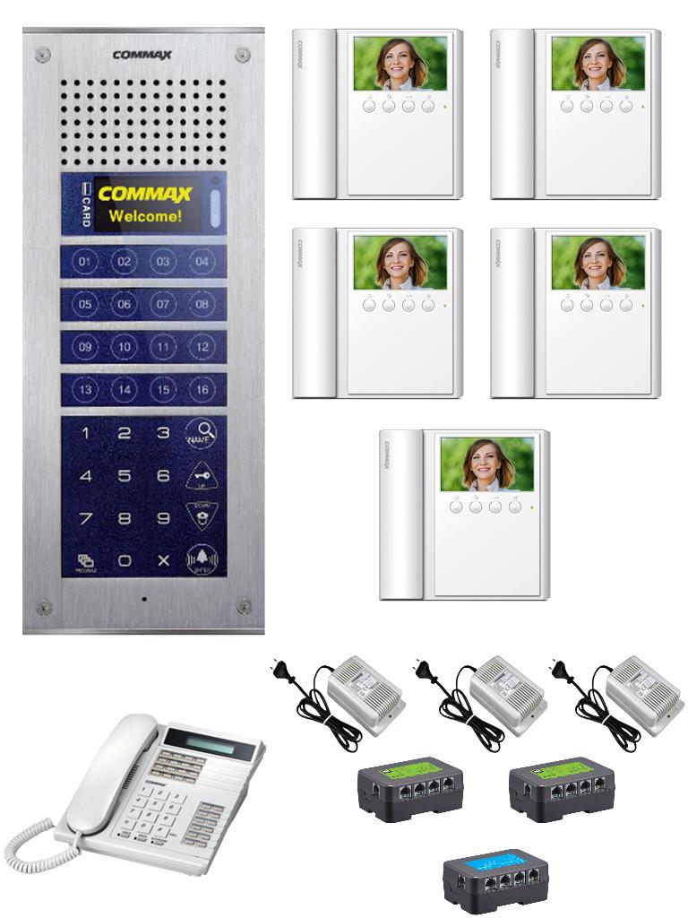 COMMAX PAQCVM43ADEP - Paquete con frente de calle departamental CMP4BCT/ 5 monitores CMV43A/ Estacion de guardia para comunicacion con departamentos