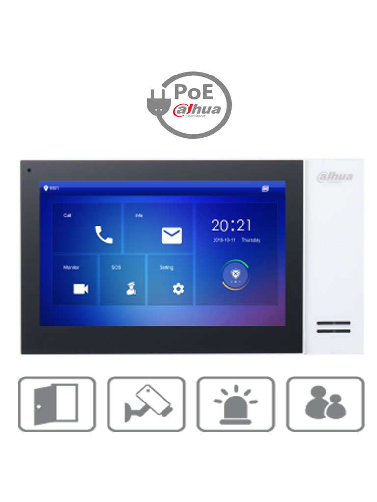 DAHUA VTH2421FW- Monitor IP touch de 7 pulgadas / PoE DAHUA / Llamada en grupo / 32 Camaras IP / 6 Entradas de alarma/1 salida alarma / Hasta 20 frentes de calle/