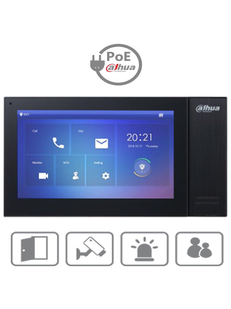 DAHUA VTH2421FB- Monitor IP touch de 7 pulgadas / PoE DAHUA/ Llamada en grupo / 32 Camaras IP / 6 Entradas de alarma/1 salida alarma / Hasta 20 frentes de calle/#NuevoPrecio