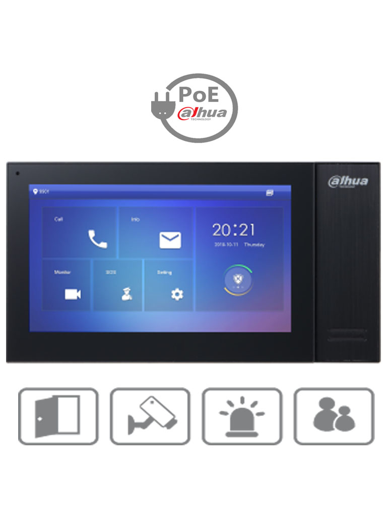 DAHUA VTH2421FB- Monitor IP touch de 7 pulgadas / PoE DAHUA/ Llamada en grupo / 32 Camaras IP / 6 Entradas de alarma/1 salida alarma / Hasta 20 frentes de calle