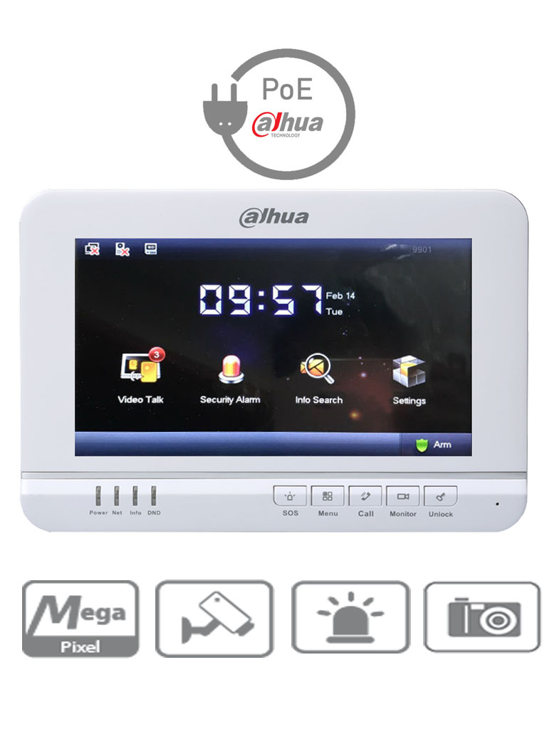 DAHUA VTH1520A - Monitor de videoportero IP  LCD de 7 pulgadas touch / Red 100 Mbps /  PoE DAHUA / Memoria SD 4GB / Soporta 8 sensores de alarma CABLEADOS