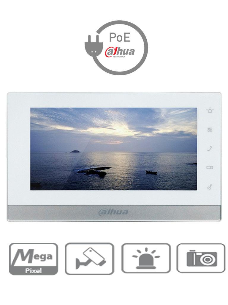 DAHUA VTH1550CH - Monitor de videoportero IP touch de 7 pulgadas / SD 16GB / Llamadas en grupo /  PoE Con switch DAHUA / 8 Camaras IP / Hasta 20 frentes de calle