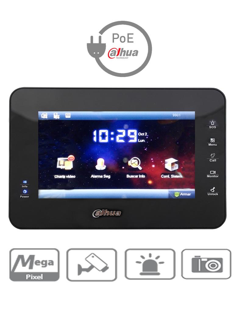 DAHUA VTH1560B - Monitor IP touch de 7 pulgadas /  PoE DAHUA/ SD 4GB / Llamada en grupo / 32 Camaras IP / 8 Entradas de alarma / Hasta 20 frentes de calle