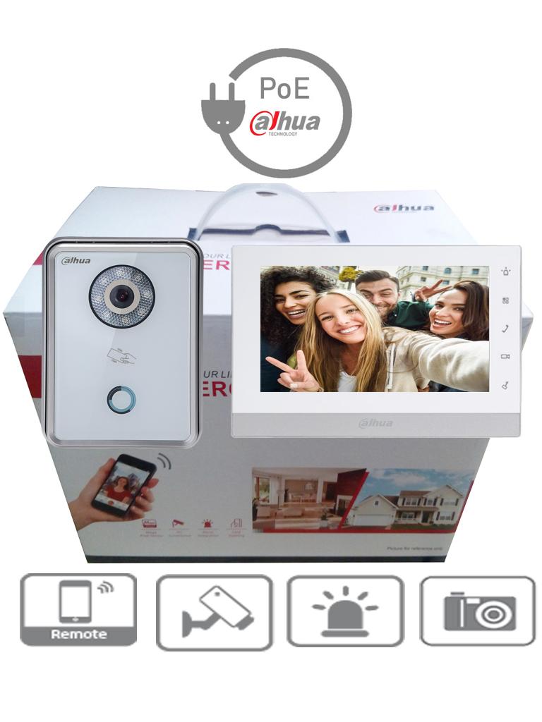 DAHUA KITVTH1550CH6210BW - Frente de calle IP y monitor touch de 7 pulgadas / Incluye SD 16 GB / Camara 1  MP / Apertura desde celular / P2P / 32 Camaras IP