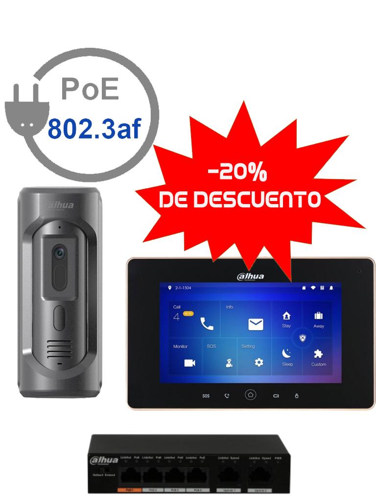 DAHUA VTO2101EPVTH5221PAK - Videoportero frente de calle IP camara 1 MP / Antivandalico IK10 /  IP65 / Monitor IP touch 7 pulgadas / Notificacion a celular / Switch  PoE DAHUA