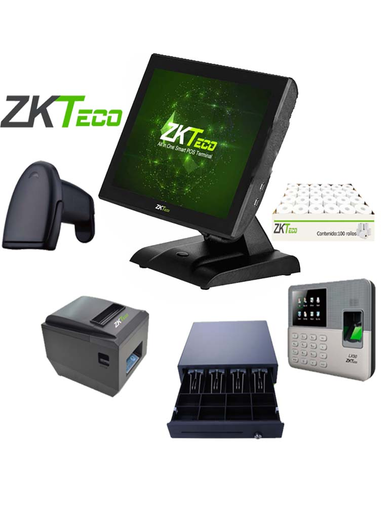 ZK POS1515C80PACK - Paquete todo incluido / Terminal 1515C2 / Impresora de 80 mm / Lector codigo de barras B101 / Caja con 100 rollos / LX50 / Cajon C01