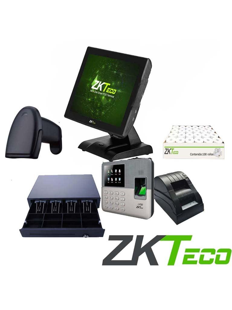 ZKTECO POS1515PACK - Paquete Todo Incluido / Terminal 1515C2 / Cajón C02 / Lector Código de Barras B101 / Impresora 58 mm / Caja con 100 rollos / LX50