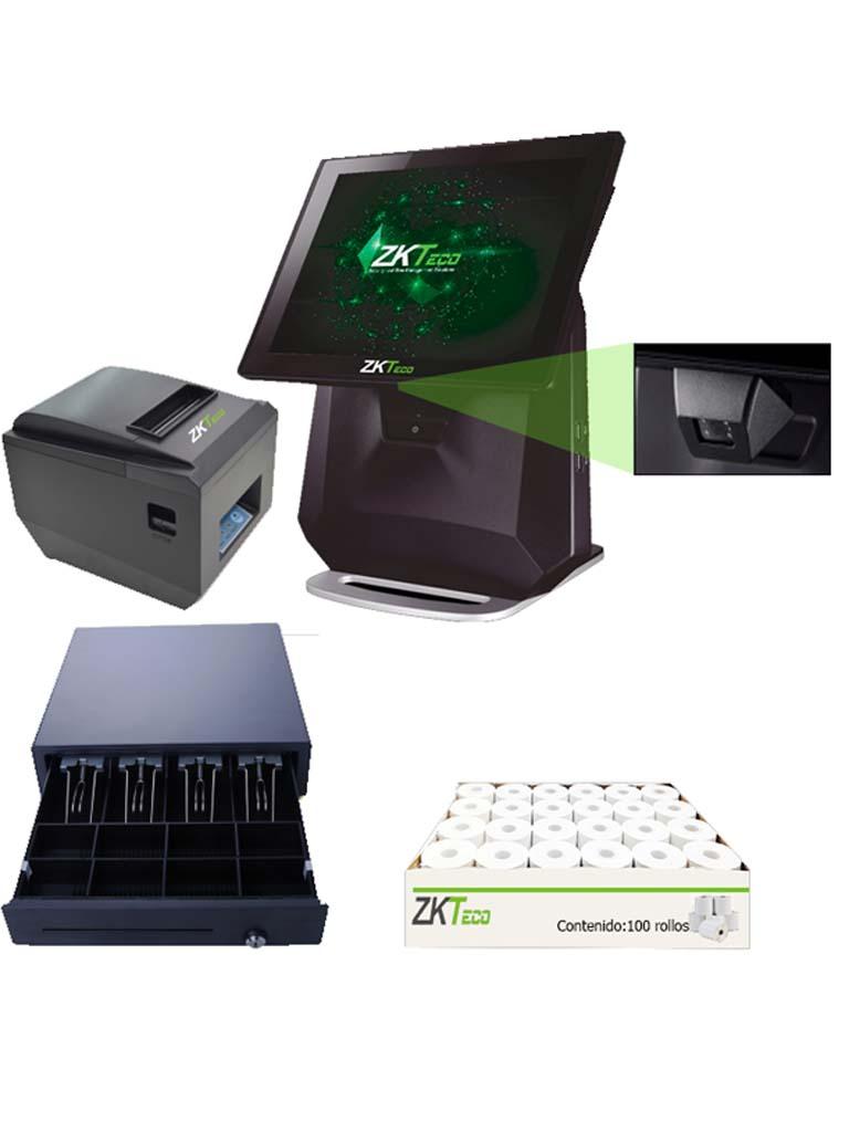 ZK POS75PACK - PAQUETE TODO INCLUIDO / TERMINAL 7550WP / IMPRESORA DE 80MM / ESCANER 2D / CAJON C01 / CAJA CON 100 ROLLOS