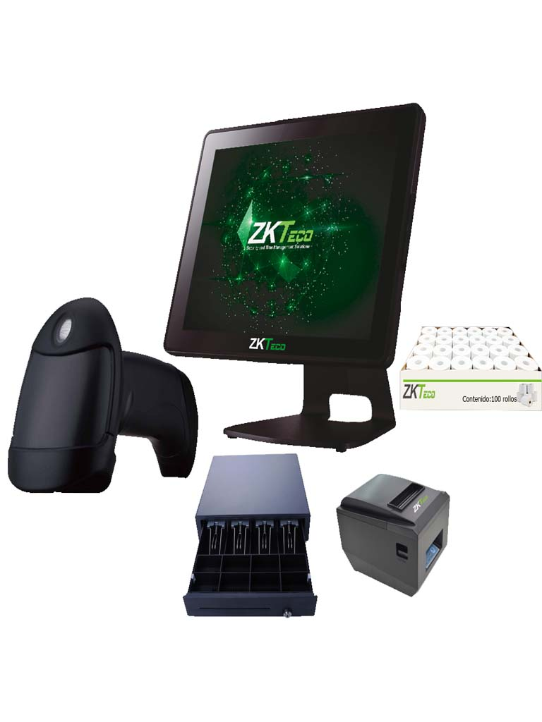 ZK POS55PACK - PAQUETE TODO INCLUIDO / TERMINAL 5510P / IMPRESORA DE 80MM / CAJA CON 100 ROLLOS / CAJON C01 / LECTOR CODIGO DE BARRAS B201
