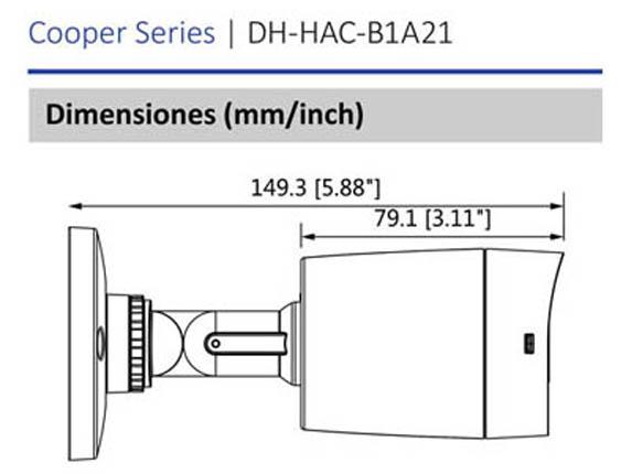 Dimensiones_DAHUA COOPER B1A21_Vista lateral_400 x 430