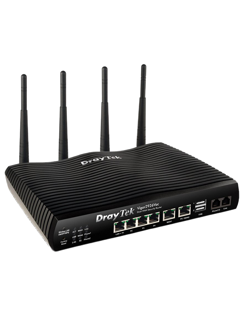 DRAYTEK VIGOR2926VAC- Ruteador Inalambrico Multi WAN/ 2 Puertos WAN GE RJ45/ 4 Puertos LAN GE/ 50 VPN/ 2 Puertos  USB/ VoIP/ WiFi AC hasta 1733 Mbps