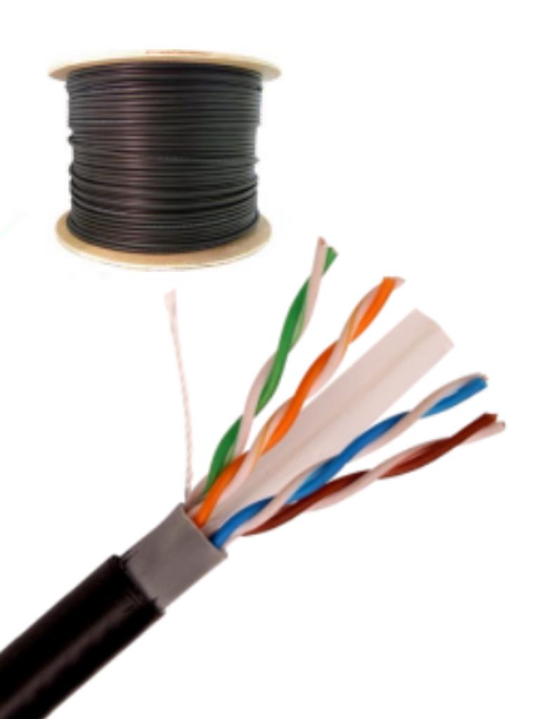 SAXXON OUTPCAT6CCAEXT- Cable UTP CCA de 305M/ Categoria 6/ Exterior/ Doble forro/ Color negro