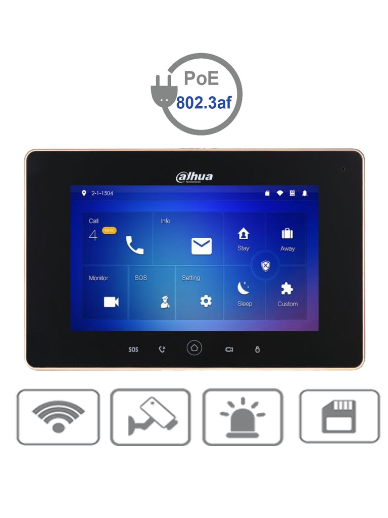 DAHUA VTH5221DS2 - Monitor IP touch de 7 pulgadas / Conexion  WiFi y ethernet /  PoE  802.3af / SD Hasta 32GB / 32 Camaras IP / Hasta 20 frentes de calle