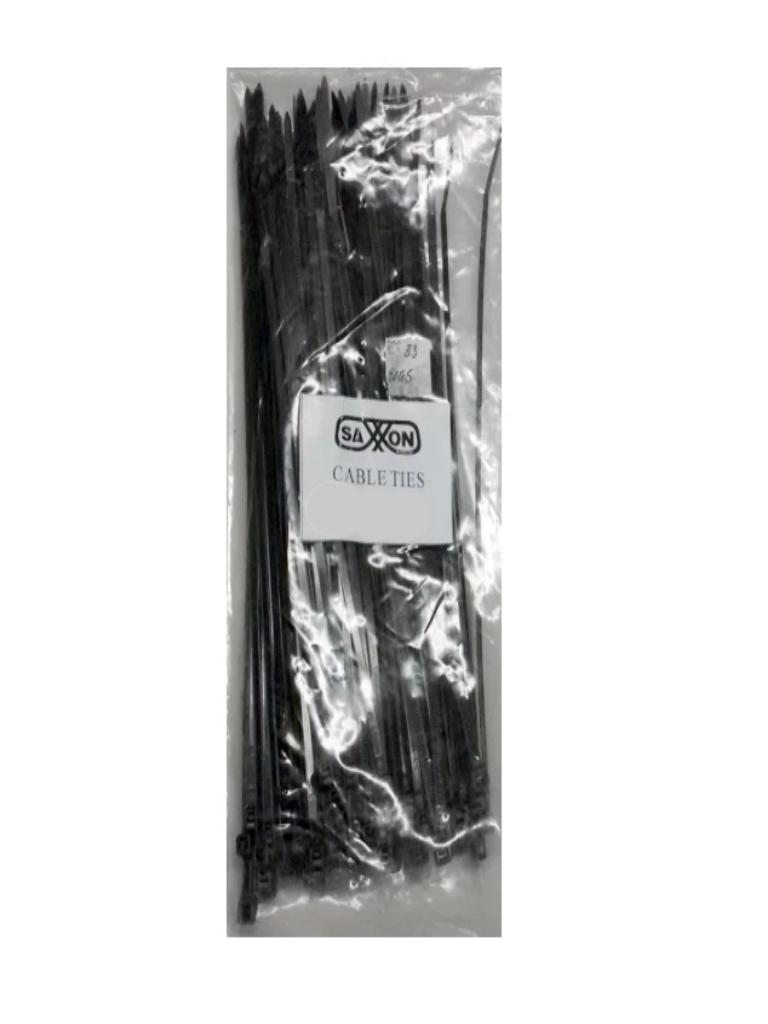 SAXXON CN36X300BK - Cincho sujetacable/ 3.6  mm X 300  mm / Negro / Bolsa con 100 piezas / Nylon