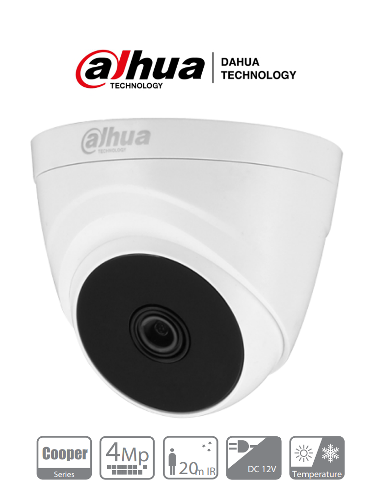 DAHUA COOPER T1A41-36 - Camara Domo HDCVI 4 MP/ Lente 3.6 mm/ Smart IR 20 Mts/ TVI/AHD/CBVS/ Interior