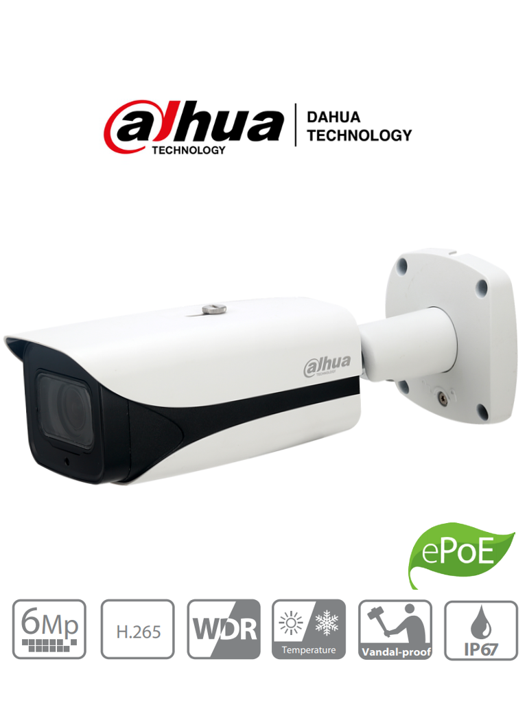 DAHUA IPC-HFW5631E-ZE- Camara IP Bullet 6 Megapixeles/ H265+/ WDR Real 120 dB/ Lente Motorizado 2.7mm-13.5 mm/ IVS/ IR 50 Mts/ IP67/ IK10/ PoE/ ePoE