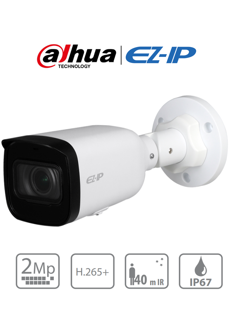 DAHUA EZIP IPC-B2B20-ZS - Camara IP Bullet de 2 MP/ Lente Motorizado 2.8 a 12 mm/ H.265+/ IR 40 Mts/ IP67/ PoE/ Ranura MICRO SD/ PROMIDH/ PROMOTCD