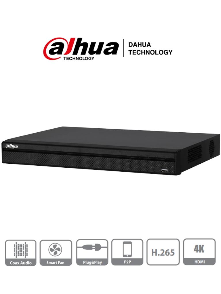 DAHUA XVR5216A-X - DVR 16 Canales Pentahibrido 4 Megapixeles Lite/ 1080p/ 720p/ H265+/ 8 Ch IP adicionales 16+8/ IVS/ 2 SATA Hasta 20TB/ P2P/ Smart Audio/ PROMDDH/