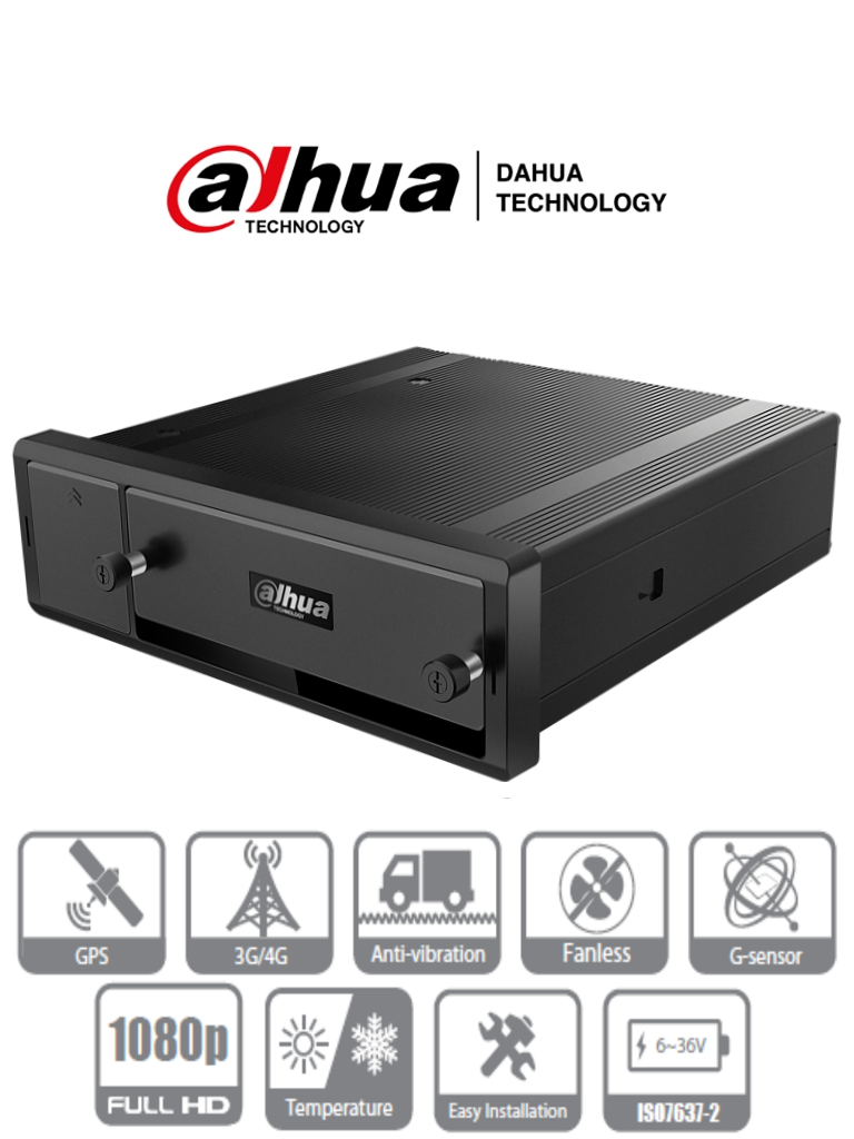 DAHUA MXVR4104-GFW - DVR Movil 4 canales  HDCVI  1080p + 4 canales IP / H.265 / GPS / 3G /  WiFi / 1  HDD 2.5 Pulgadas + 1 tarjeta SD