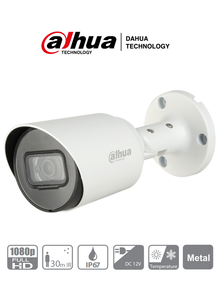 DAHUA HFW1200T-36- Camara Bullet HDCVI 1080p/ 90 Grados de Apertura/ Lente Fijo de 3.6mm/ IR 30 Mts/ IP67/ Metalica/ TVI AHD y CBVS/