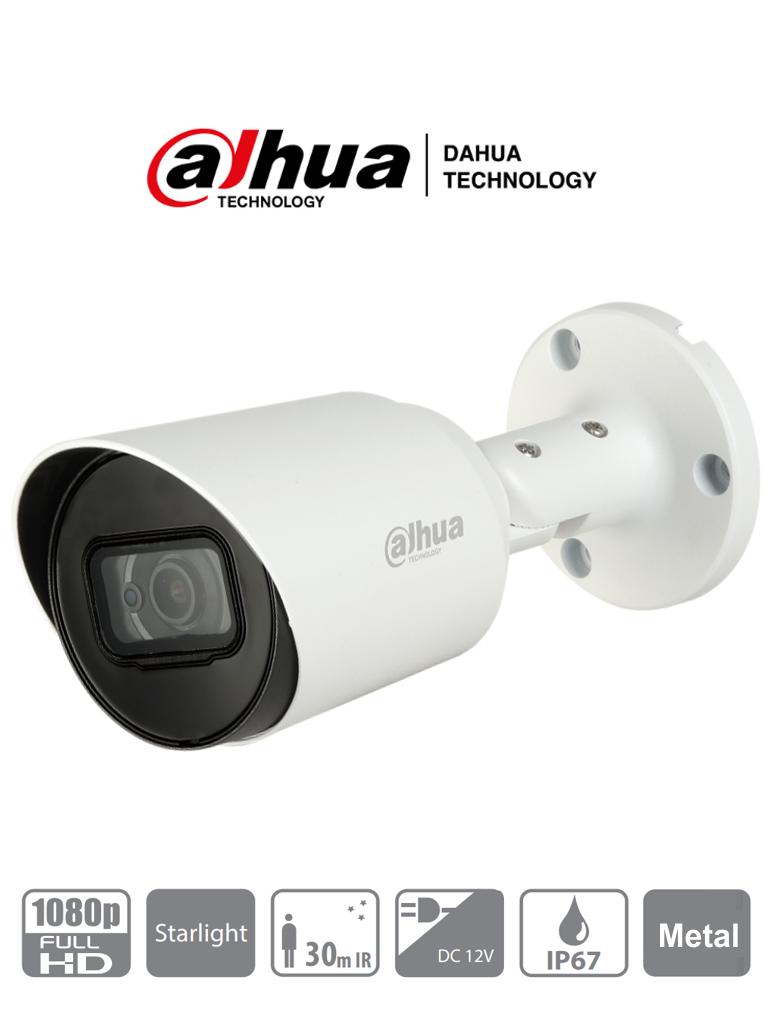 DAHUA HFW1230T-28 - Camara Bullet HDCVI 1080p/ STARLIGHT 0.005 Lux/ 106 Grados de Apertura/ Lente 2.8mm/ IR 30 Mts/ IP67/ Metalica/ TVI AHD y CVBS