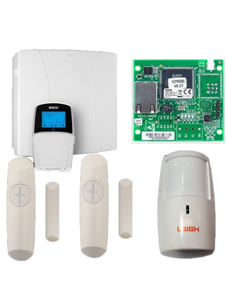 RISCO SHOCKTEC PACK-PAQUETE CON PANEL LIGHTSYS / MODULO IP / 2 SHOCKTEC PLUS (DETECTOR DUAL DE IMPACTO CON MAGNETICO GRADO3 ) / PIR HORN CABLEADO