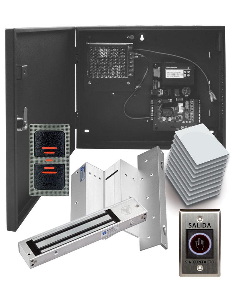 ZKTECO C3100PAK - Control de Acceso Profesional para 1 Puerta con Lector de Tarjeta / Botón de Salida sin Contacto / Contrachapa Magnética / #Irresistibles