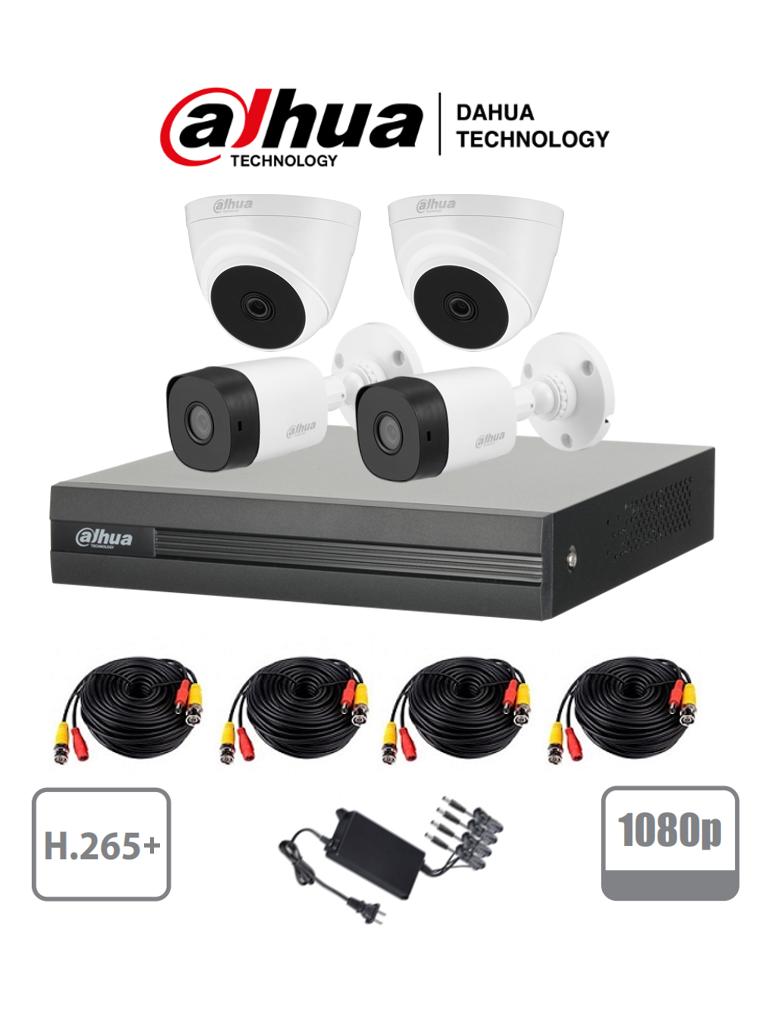 DAHUA XVR1B04KIT+T1A2136 - Kit de 4 Canales 2 Megapixeles/ 2 Camaras B1A21 de Policarbonato/ 2 Camaras T1A2136 de Uso Interior/ DVR 4 Canales H.265+ 1080p Lite/ y Accesorios