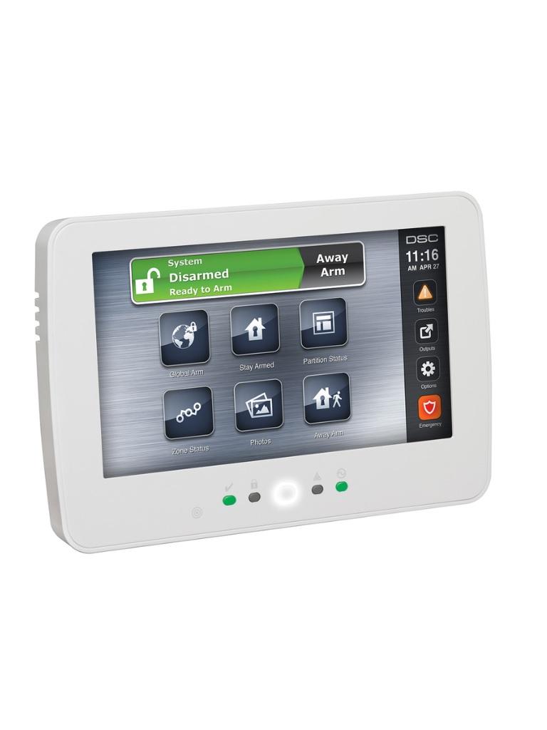 DSC HS2TCHPRO - Teclado Cableado de Pantalla Táctil de 7''  admite 248 zonas compatible con panel PRO