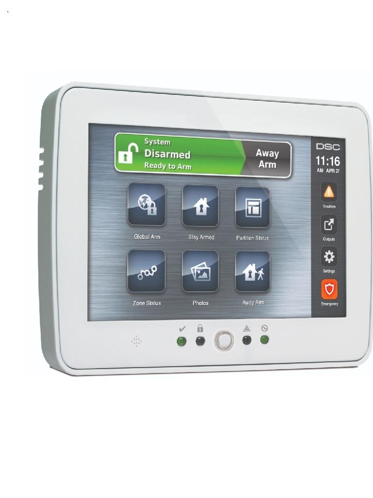 DSC PTK5507W SPA - Teclado Cableado de Pantalla Táctil de 7''  admite 64 zonas compatible con Power Series