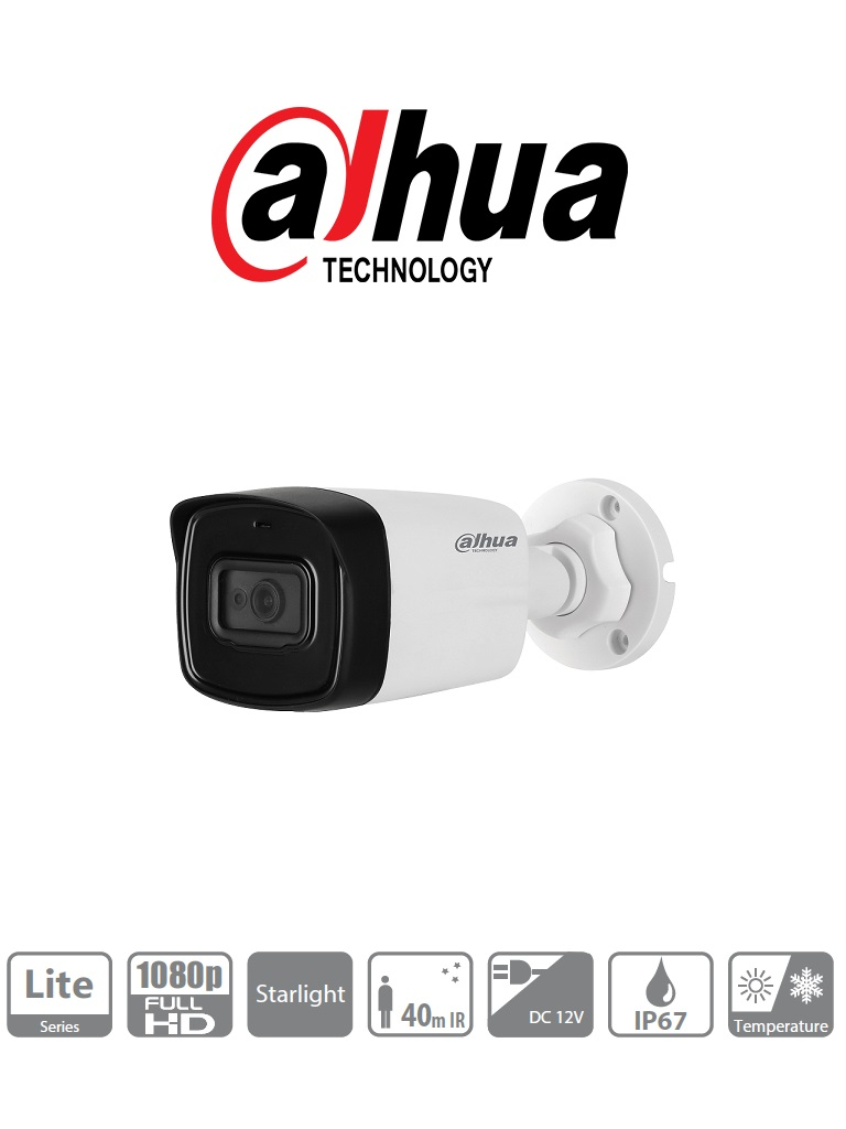 DAHUA HFW1230TL28 - Camara bullet  HDCVI  1080p / STARLIGHT 0.005 Lux color / TVI / A HD / CVBS / Lente 2.8  mm / Gran angular / Smart ir 40 m / IP67