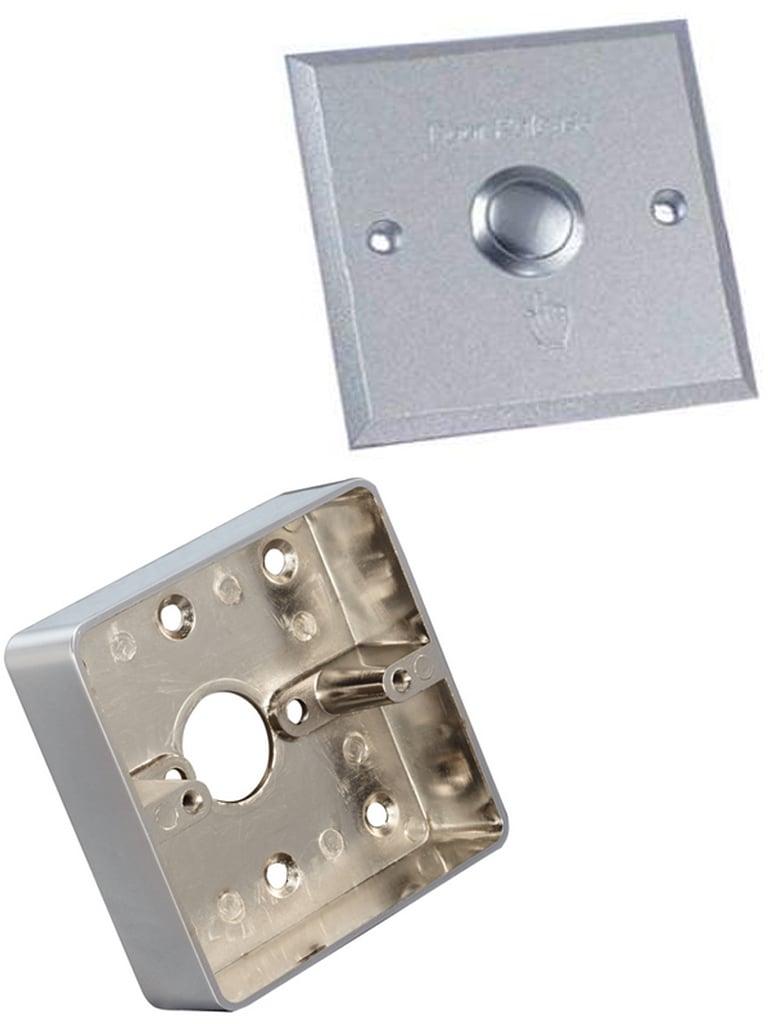 YLI ABK800BPAK - Paquete de boton liberador de puerta de aluminio con señales NO y NC/ Incluye caja metálica para instalación